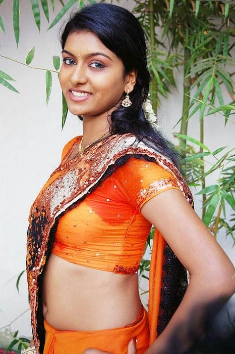 Latest Movies Gallery Akshida Hot Orange Blouse Navel -3047