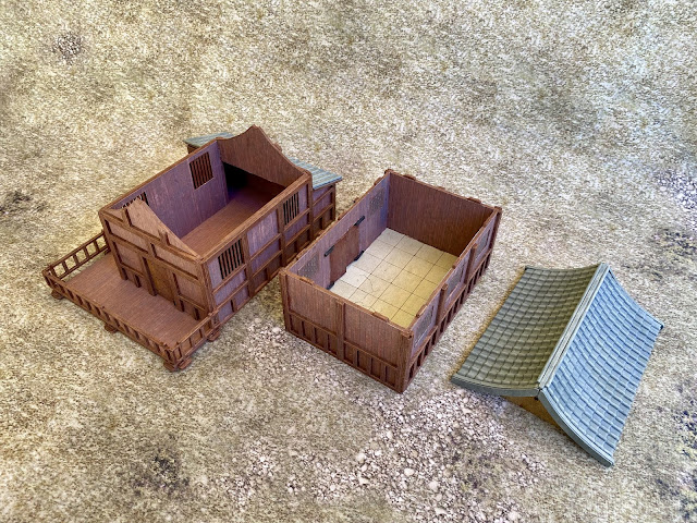 Modified  warbases.co.uk 28mm MDF Zhu house for Back of Beyond and WW2 Chinese wargaming