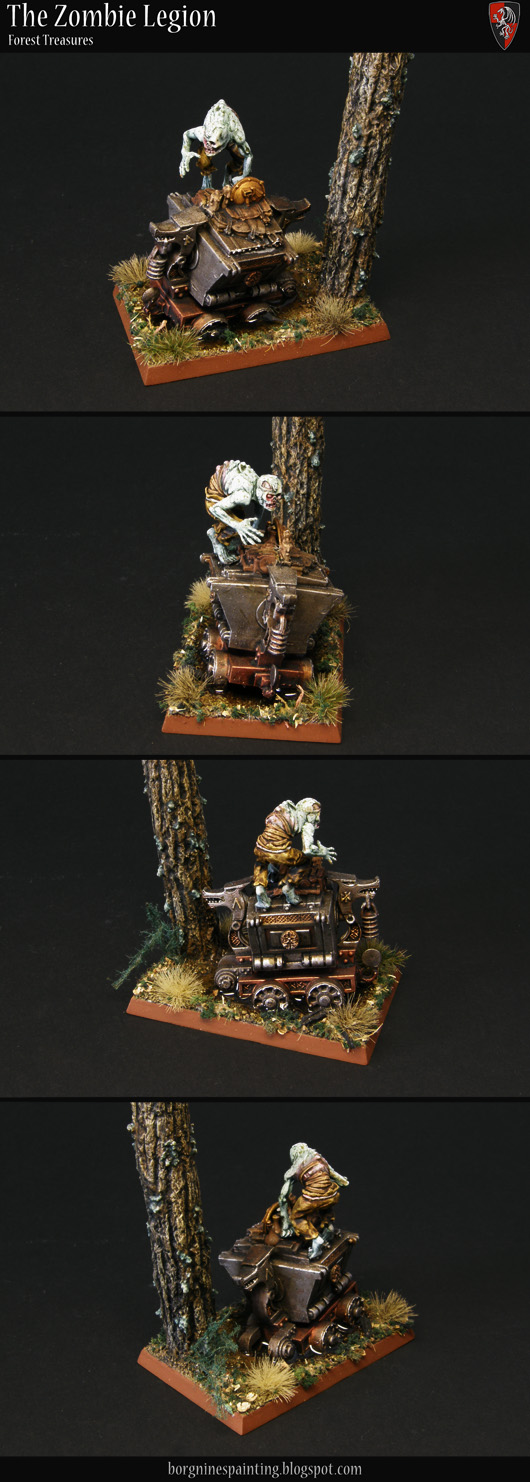 A single Zombie miniatures kitbashed out a ghoul body, standing on an old and weathered Dwarf wagon partially submerged in a small puddle, creating a small diorama to be used a unit filler - with a scratchbuilt tree also on the base - visible from several angles.