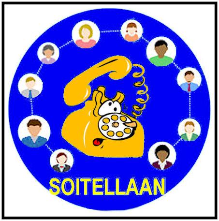 Puhelinrinki, jossa lankapuhelin on piirroksena keskellä ja kaverit asetettu valintakiekon numeroita vastaaville kohdille. Alimmaisena sana SOITELLAAN!