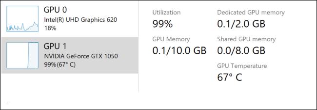 GPU درجة الحرارة في إدارة المهام ويندوز 10
