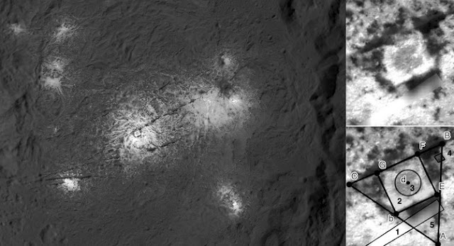 Image Attribute: Another perspective of the Vinalia Faculae region (rotated 180º from that above), taken by the Dawn probe. The researchers have observed the structure that appears in the central part, enlarged on the right, where the geometries that were most frequently detected by people are also indicated (below, indicated with numbers) / Original photo: NASA/JPL-Caltech/UCLA/MPS/DLR/IDA/PSI