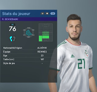PES 2019 Faces Ramy Bensebaïni by TiiToo Facemaker