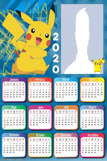Pikachú: Calendario 2020 para Imprimir Gratis.