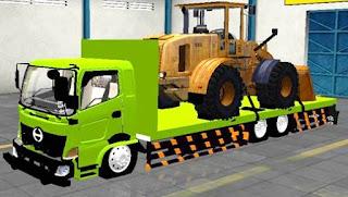 Mod Hino Truck Bak Flatbed Muat Dozer
