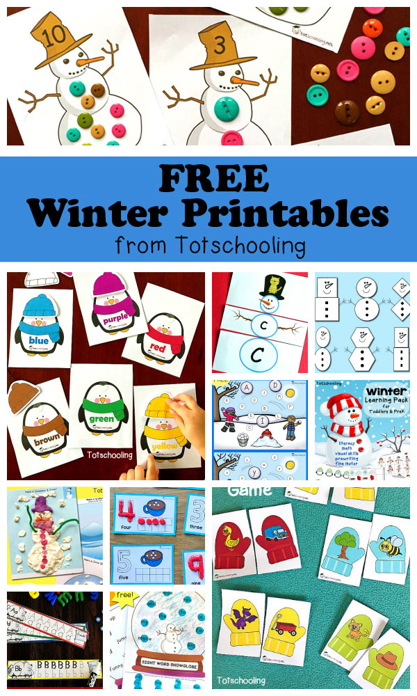 Free Winter Printables for Kids | Totschooling - Toddler ...