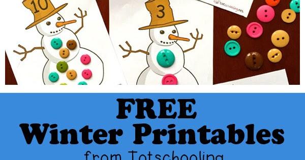 Free Winter Printables for Kids Totschooling - Toddler, Preschool