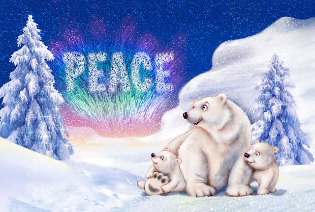Christmas card image of polar bear and cubs