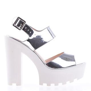 sandale argintii cu toc gros si talpa groasa