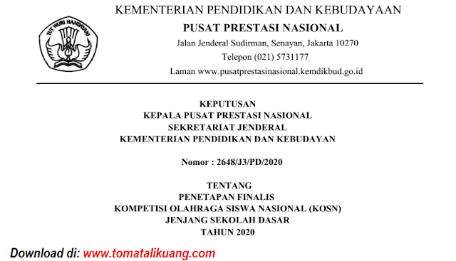 sk peserta kosn o2sn sd tingkat nasional tahun 2020 pdf tomatalikuang.com