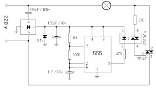 220V lamp flasher with IC 555 circuit