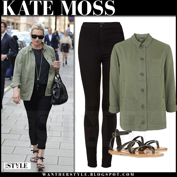 Kate Moss in green shirt and black jeans topshop what she wore streetstyle