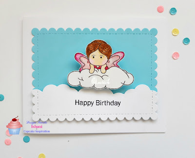 Amy on the cloud digi image, crafty sentiment amy on the cloud card, fairy card, fairytale card, CAS card, birthday Card for little girls, Fairy on the cloud, cards by ishani, quillish, cupcake inspirations card