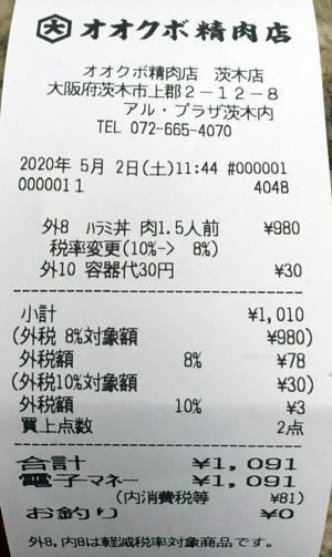 オオクボ精肉店 茨木店 2020/5/2 のレシート