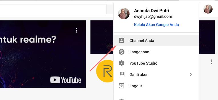 Cara masuk ke channel Youtube kamu