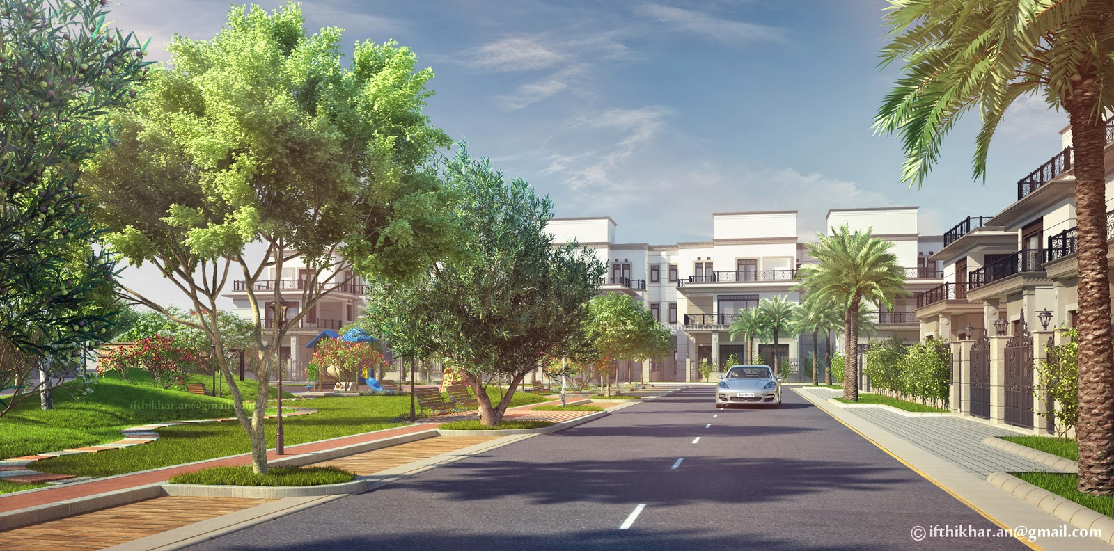 3d exterior landscape visualization for a group housing - Exterior rendering in 3ds max with vray ...