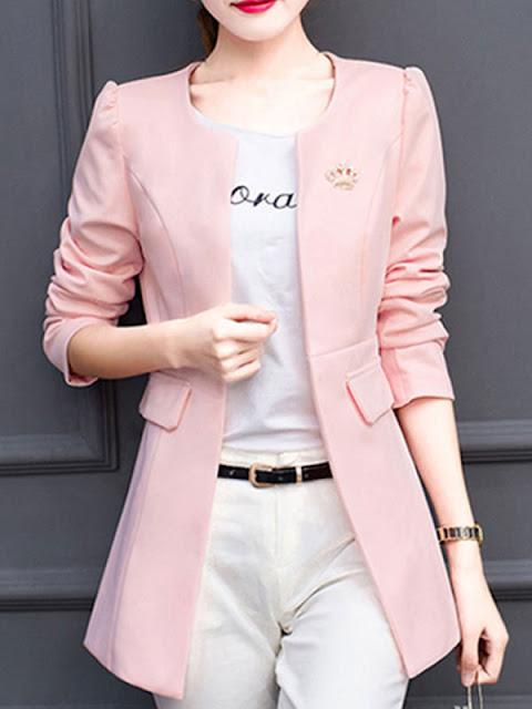 Blazer feminino acinturado rosa