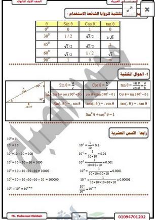 مذكرة مادة الفزياء للصف الأول الثانوى