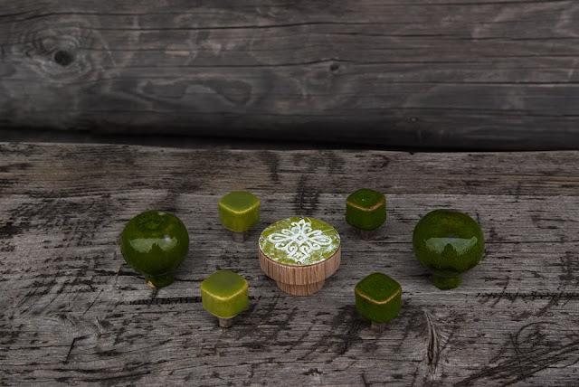 Gałki meblowe - zielone - ceramiczne i emaliowana