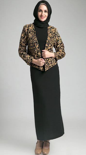 Contoh Gambar Baju Batik Muslim Wanita Kerja
