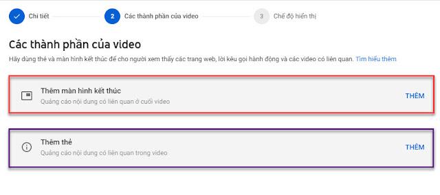 màn hình kết thúc và thẻ trên video youtube
