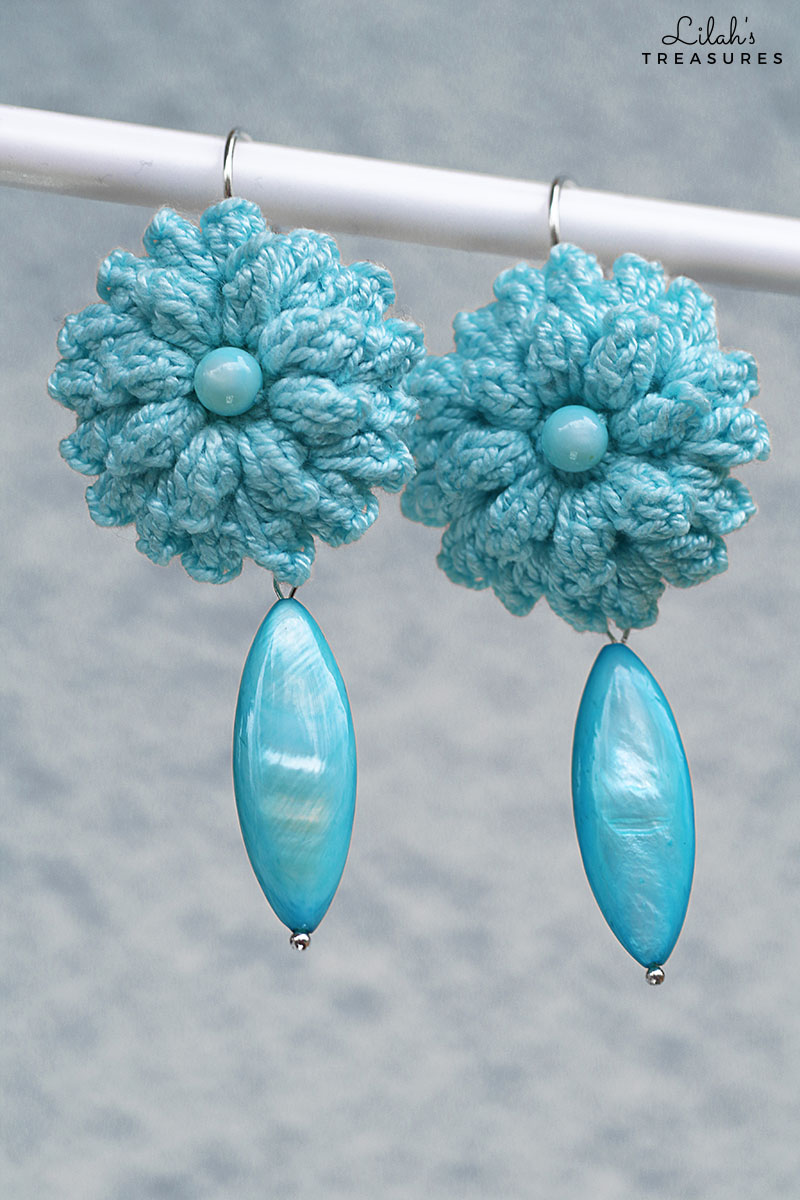crochet popcorn flower earrings