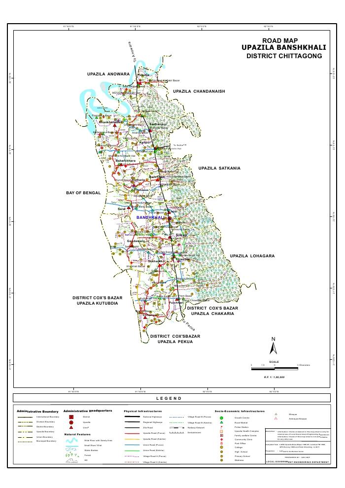 Banshkhali Upazila Road Map Chittagong District Bangladesh