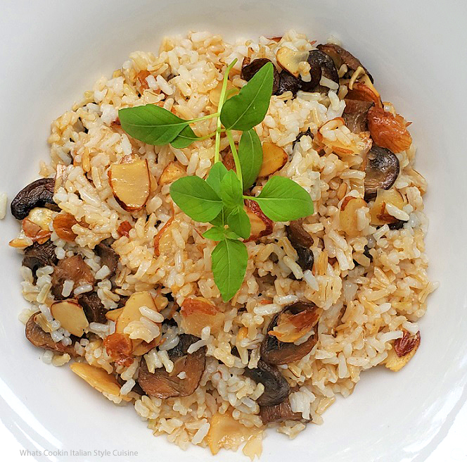 this is a gourmet style rice with toasted almonds, marsala wine, mushrooms in a butter sauce