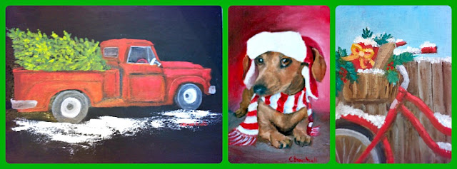 vintage-red-truck-cards-hand- painted-artist-athomewithjemma