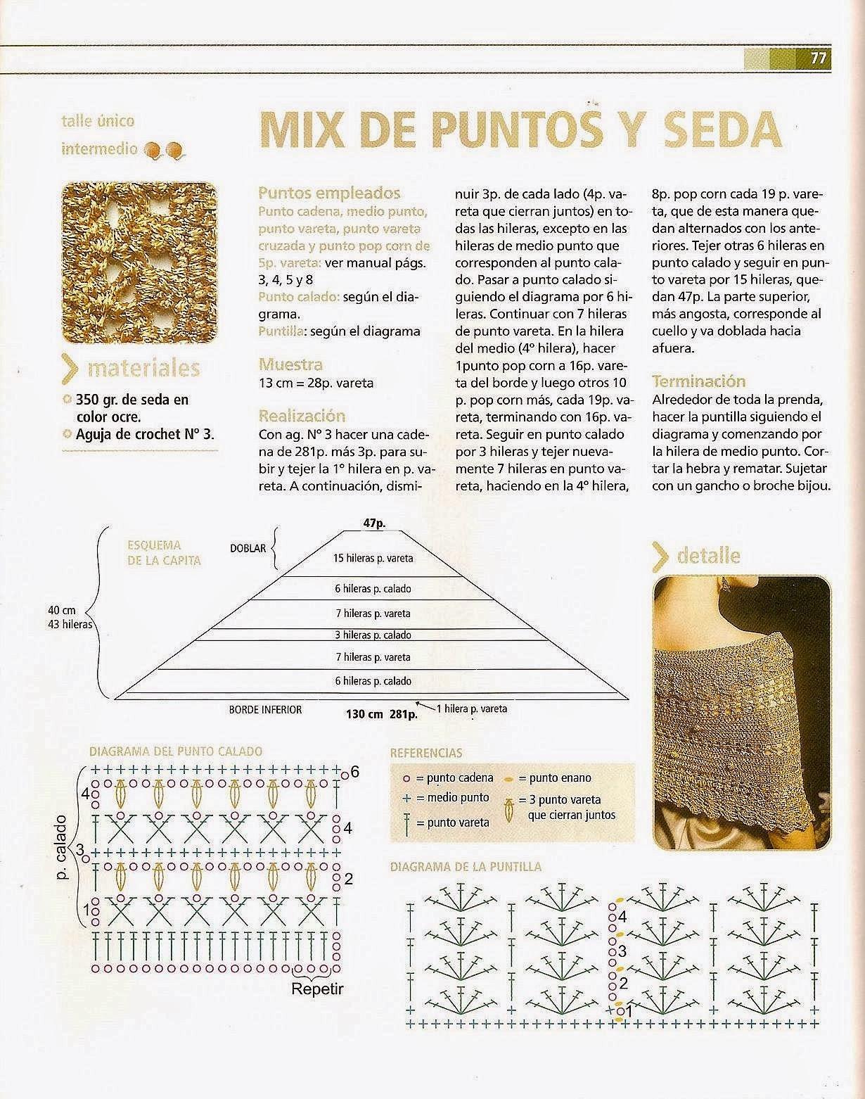 Chal Mix Puntos de Seda Crochet Patron