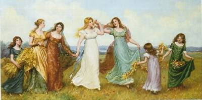 Good Company / Against Gossip, conversation, girls talking, gossiping, whispering, telling stories, Jane Austen, quote, idle word, words, learning, substance, wisdom, kindness, artwork, paintings, Daniel Ridgeway Knight,Maidens in the Wheatfield by Jennie Brownscombe