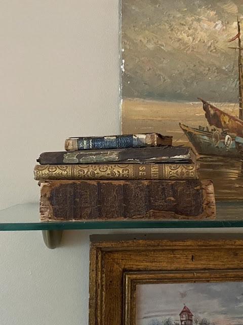 antique books on glass shelves