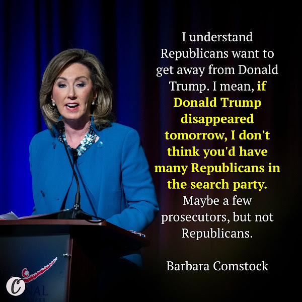 I understand Republicans want to get away from Donald Trump. I mean, if Donald Trump disappeared tomorrow, I don't think you'd have many Republicans in the search party. Maybe a few prosecutors, but not Republicans. — Former GOP Rep. Barbara Comstock