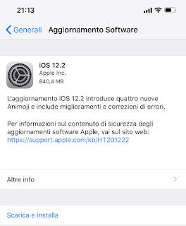 Apple rilascia ufficialmente iOS 12.2