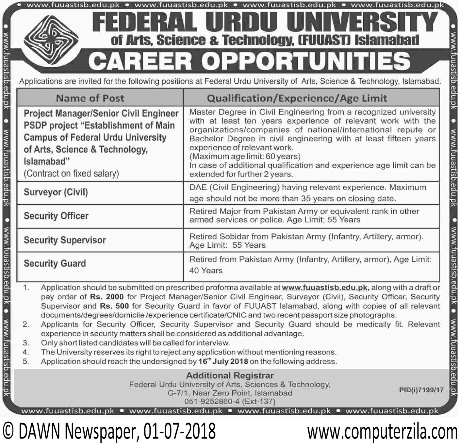 Career Opportunities at Federal Urdu University of Science & Technology