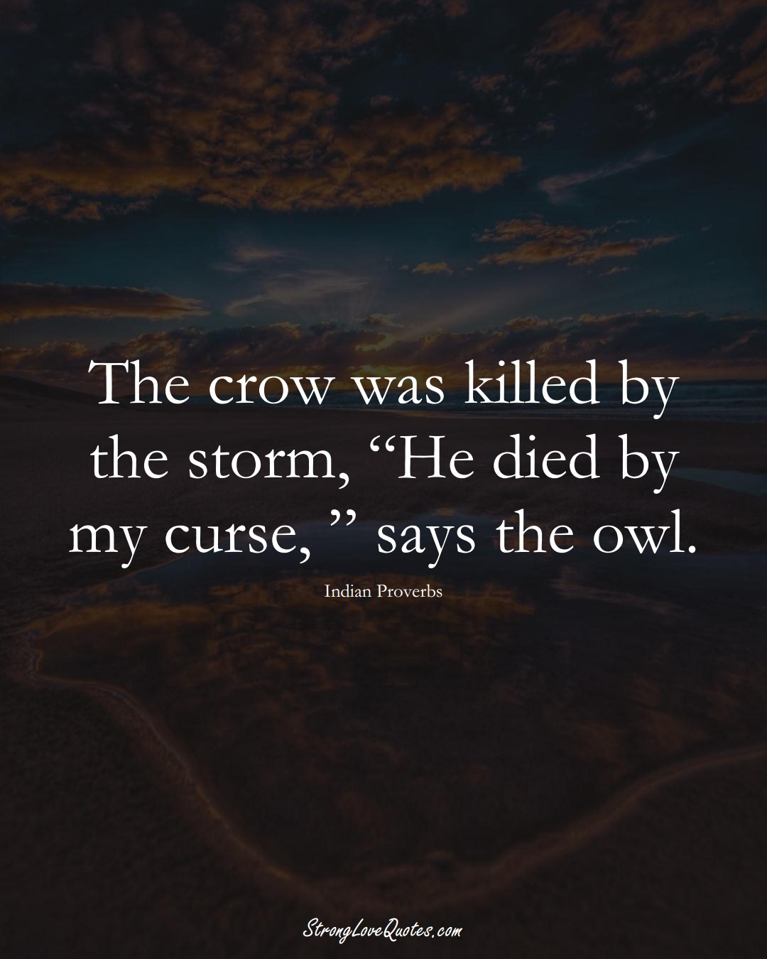 """The crow was killed by the storm, """"He died by my curse, """" says the owl. (Indian Sayings);  #AsianSayings"""