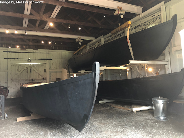 Replicas of the Durham boats Washington and his troops used.