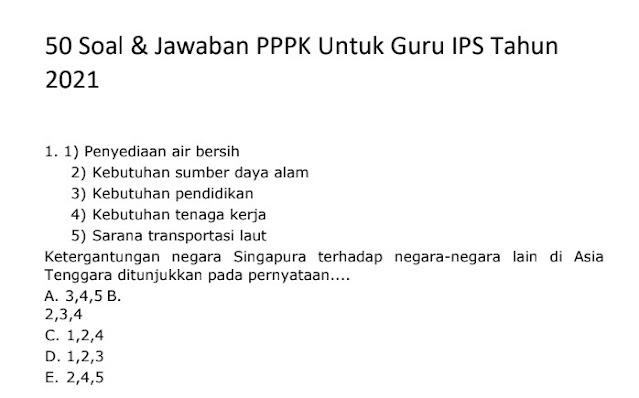 Contoh Soal PPPK (P3K) IPS Guru dan Kunci Jawabannya