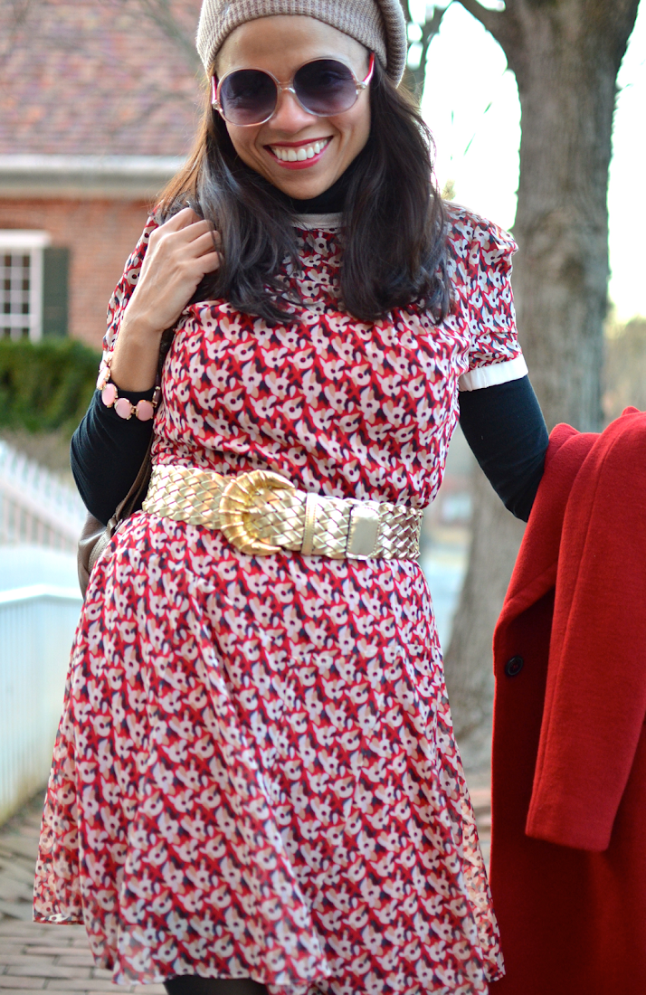 Poppy flower print dress