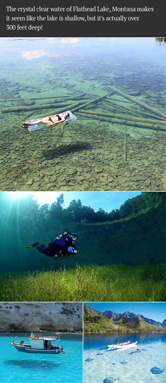 The crystal clear water of Flathead Lake, Montana makes it seem like the lake is shallow, but it's actually over 300 feet deep!