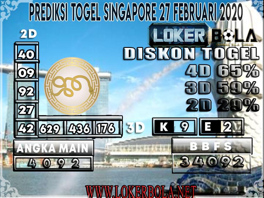 PREDIKSI TOGEL SINGAPORE LOKERBOLA 27 FEBRUARI 2020