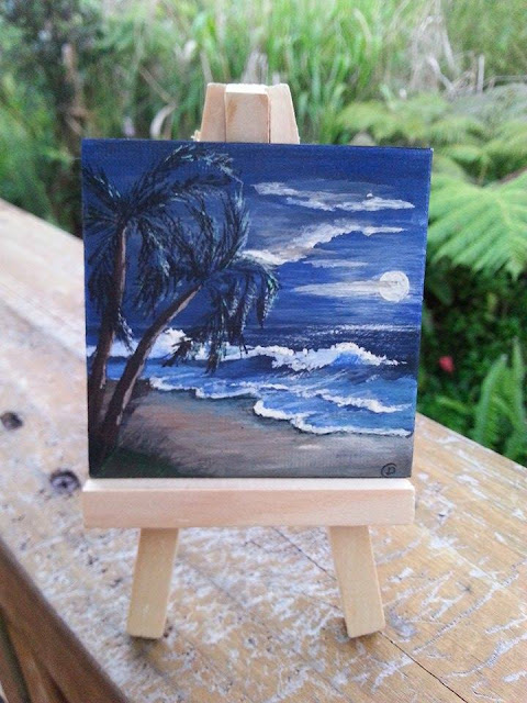 """Hawaiian Nightscape"" miniature paintings by D.Leah Cochran"