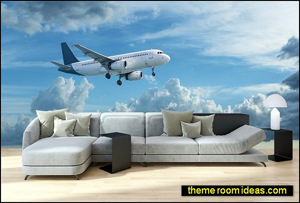 Airplane flying wallpaper mural airplane bedroom decorations