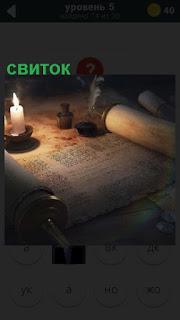на столе развернут свиток и стоит свеча для чтения