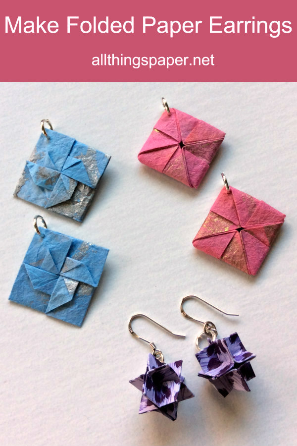 three pairs of colorful, square origami earrings