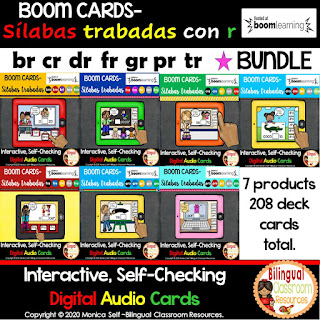 BOOM Cards Sílabas trabadas con r-Spanish R Blends Digital Task Cards BUNDLE
