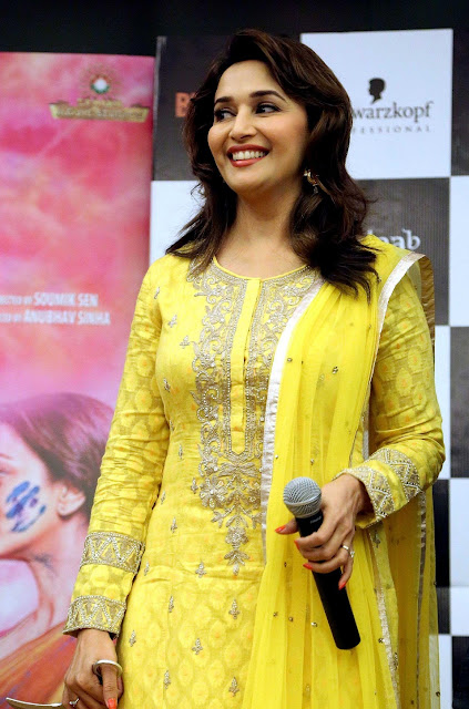 Beautiful Actress Madhuri Dixit In Yellow Beauty Dress in Interview Actress Trend