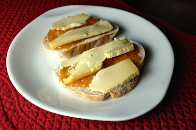 Netherlands Breakfast - Gouda cheese, unsalted butter, and apricot jam; on white bread