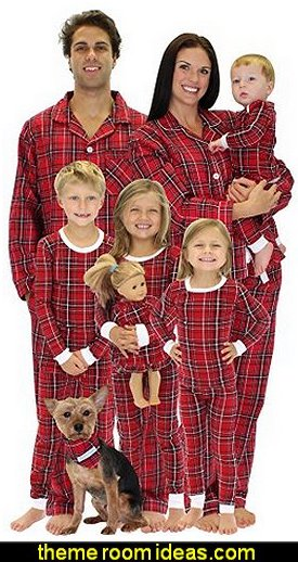 Red Plaid Flannel Pajamas PJs Sets for the Family