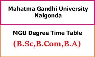 MGU Degree Time Table